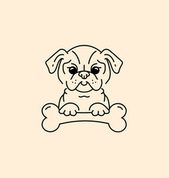 Cartoon pug pug-dog with a bone bulldog vector