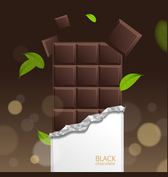 Chocolate package bar blank - dark pieces vector
