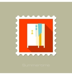 Cloakroom on the beach flat stamp with long shadow vector