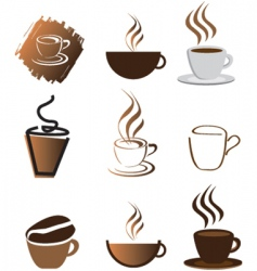 coffee icons silhouette brown vector image