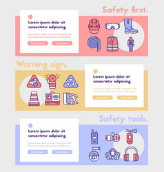 color linear icon banner safety first set vector image