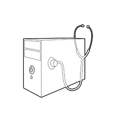 Computer system unit and stethoscope icon vector