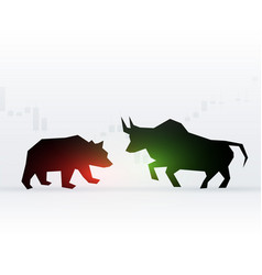 Concept design of bear and bull in front of each vector