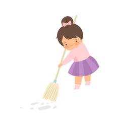 Cute brunette little girl sweeping floor with vector