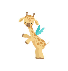 Cute little giraffe with wings funny jungle vector