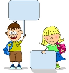 Cute Students Holding Signs vector