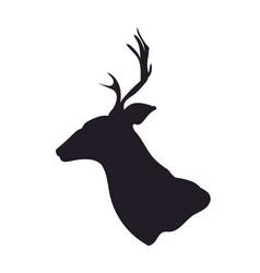 deer portrait silhouette vector image