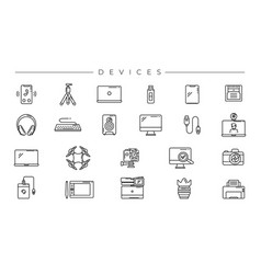 Devices concept line style icons set vector