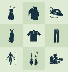 Fashionable icons set with sweatshirt classic vector