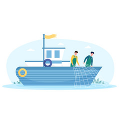 fishermen working on boat with net vector image