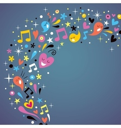 Fun background music and hearts vector