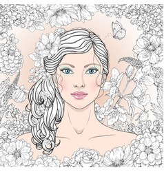 Girl with flowers outline vector