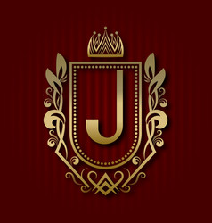 Golden royal coat of arms with j monogram vector