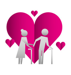 Grandparents couple with hearts silhouettes vector