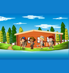 Group of scouts scene vector