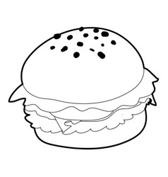 Hamburger icon outline style vector