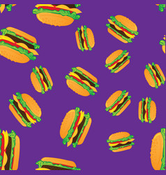 hand drawn hamburgers fast food seamless pattern vector image
