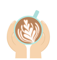 hand holding cup coffee vector image