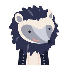 Hedgehog cute animal baby face vector