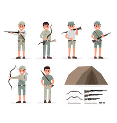 hunter huntsman gamekeeper forester and archer vector image