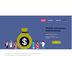 indian people group near money dollar bag growth vector image