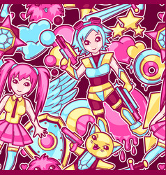 japanese anime cosplay seamless pattern cute vector image