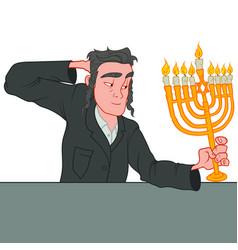 Jewish boy on hanukkah holding the lit menorah vector