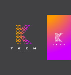 k letter logo technology connected dots letter vector image