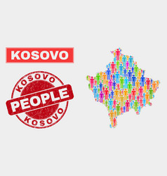 Kosovo map population people and unclean seal vector