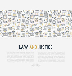 law and justice concept with thin line icons vector image