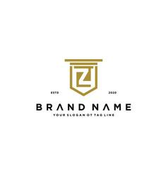 Letter z shield law logo design concept vector