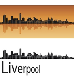 Liverpool skyline in orange background vector image