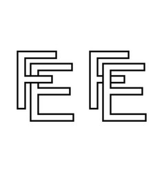 Logo sign fe ef icon sign interlaced letters e f vector
