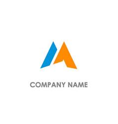 m initial shape company logo vector image