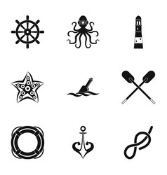 Marine icons set simple style vector