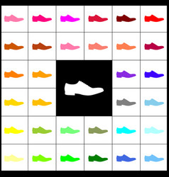 Men shoes sign felt-pen 33 colorful icons vector