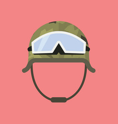Military metal helmet with goggles vector