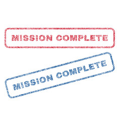 Mission complete textile stamps vector
