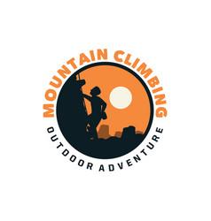 mountain climbing outdoor adventure patch badge vector image