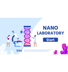 Nano laboratory for genetic research flat webpage vector