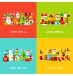 New Year Greeting Set vector image