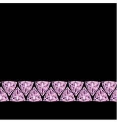 Pink gemstones border vector