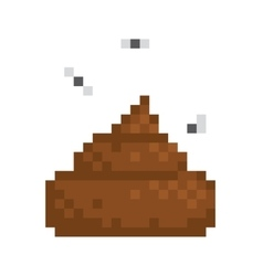 Pixel art style poo isolated vector