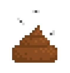 Pixel art style poo isolated vector image