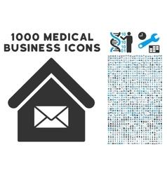 Post office icon with 1000 medical business vector