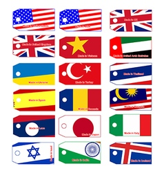 Price tag with flag of many countries vector