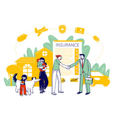 Property life and health insurance family vector