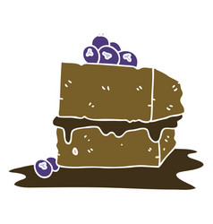 quirky hand drawn cartoon chocolate cake vector image
