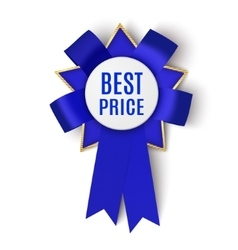 Realistic fabric award ribbon badge best price vector