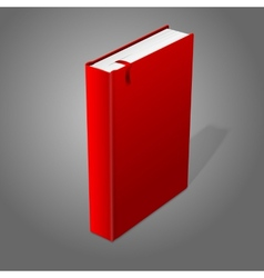Realistic standing red blank hardcover book with vector